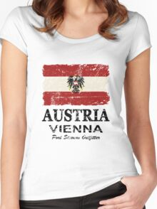 Austria Flag - Vintage Look Women's Fitted Scoop T-Shirt