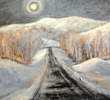 Silvery Night Road Moon by Holly Friesen
