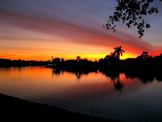 Sunset over Man Made Lake by Glenn Cecero