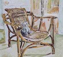 Bamboo Chair & Teddy Bear by Juliane Porter