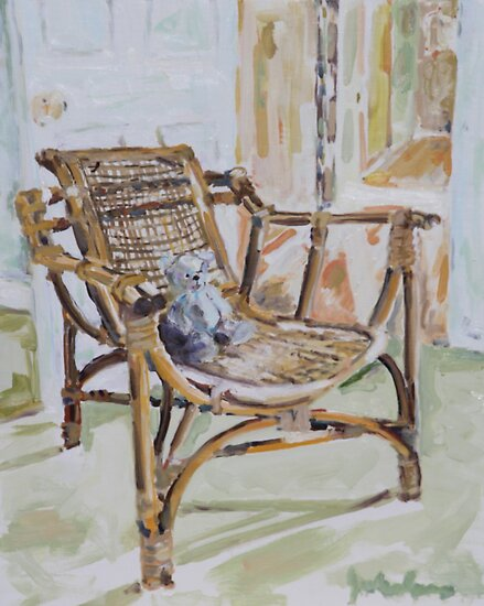 Bamboo Chair & Teddy Bear by Juliane Porter