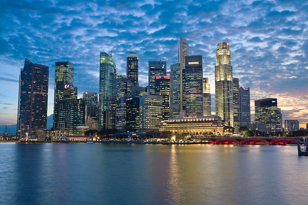 Singapore City, Financial District, Marina Bay, Sunset by Gareth Spiller