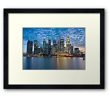 Singapore City, Financial District, Marina Bay, Sunset Framed Print