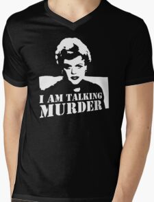 Murder She Wrote Deadly Lady stencil Mens V-Neck T-Shirt