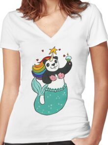 Panda of awesomeness Women's Fitted V-Neck T-Shirt