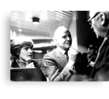 Petra Kelly and Gert Bastian talking to a journalist Canvas Print