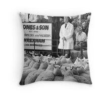Sheep Sales, Ruithin, North Wales Throw Pillow