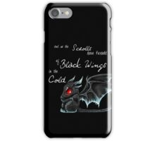 Black Wings (White Lettering) iPhone Case/Skin