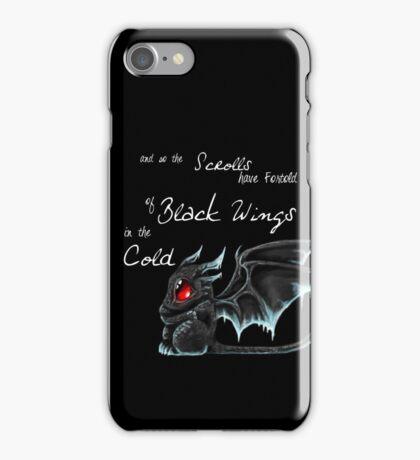 Black Wings (White Lettering) iPhone Case/Skin