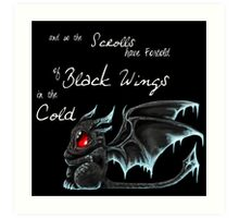 Black Wings (White Lettering) Art Print