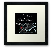 Black Wings (White Lettering) Framed Print