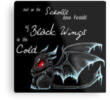 Black Wings (White Lettering) Metal Print