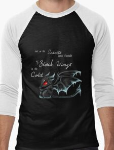 Black Wings (White Lettering) Men's Baseball ¾ T-Shirt
