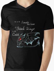 Black Wings (White Lettering) Mens V-Neck T-Shirt