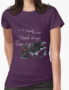 Black Wings (White Lettering) Womens Fitted T-Shirt