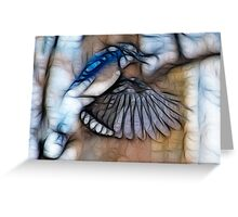 Bluejay on the wing Greeting Card