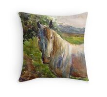 Watercolor Horse painting Svetlana Novikova Throw Pillow