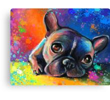 Whimsical French Bulldog painting Svetlana Novikova Canvas Print