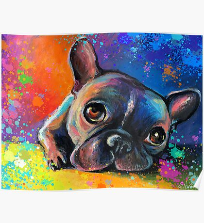 Whimsical French Bulldog painting Svetlana Novikova Poster