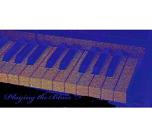 Playing the Blues - Piano keys abstract  Photographic Print