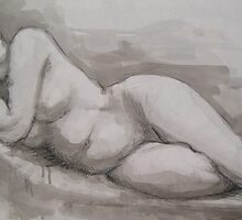 ink & charcoal reclining lady 1 by Joanna Fountain