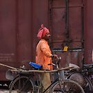 Indian Railway worker, Bharatpur Station, Rajasthan by Christopher Cullen