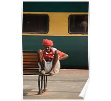 Indian Railway Porter resting, Agra Station Poster
