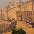 Elephant train ascending to the Amber Fort, Jaipur by Christopher Cullen