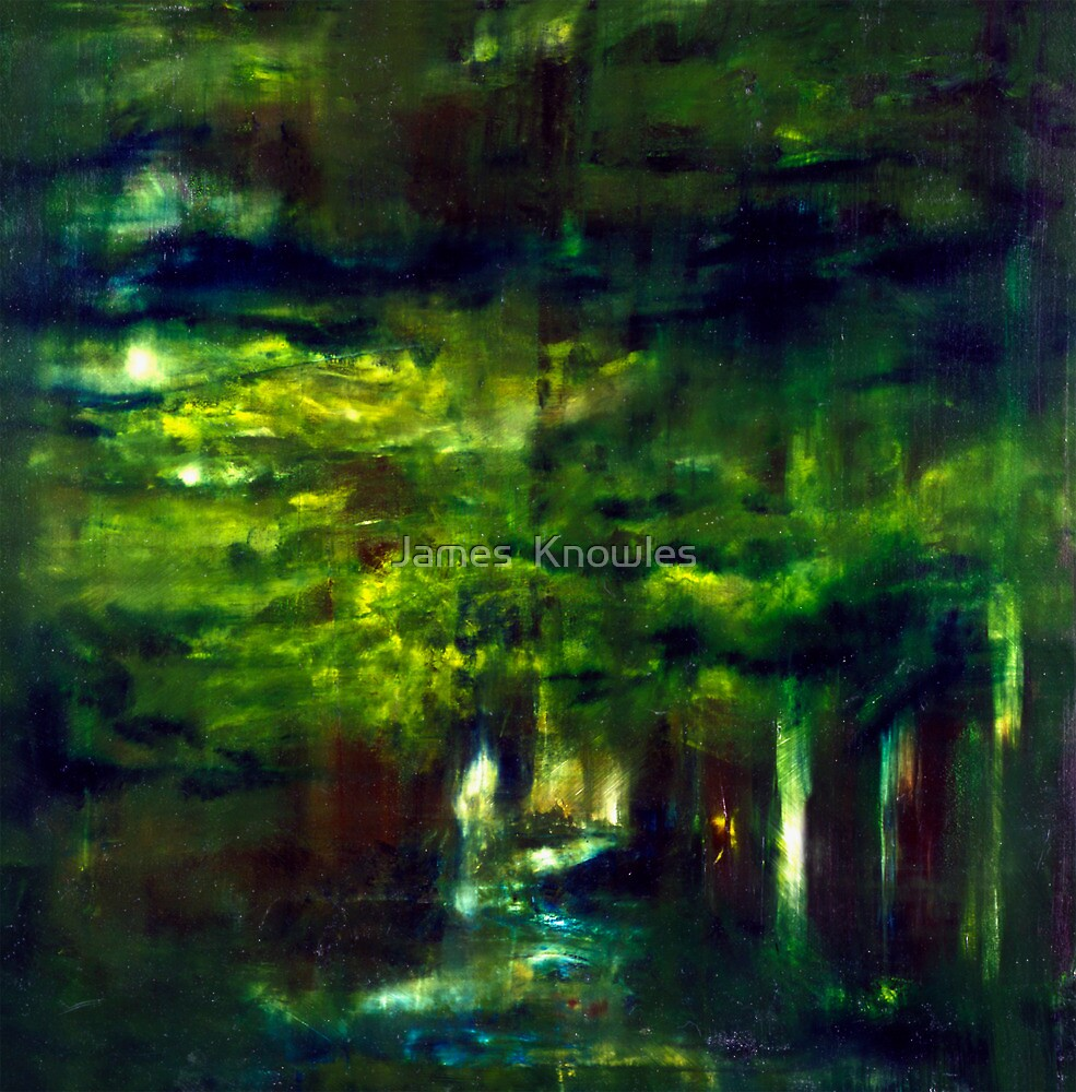 """Forest One"" - abstract oil painting impression of trees    by James  Knowles"