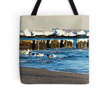 Snow On The Jetty Tote Bag