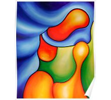 """Fun in the Pool"" - colorful abstract expressionistic oil painting Poster"