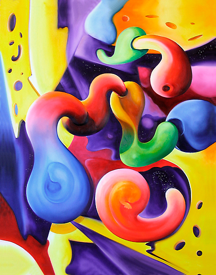 """Conceptions"" - colorful abstract expressionistic oil painting by James  Knowles"