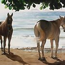 """""""Caballos del Mar"""" - oil painting of horses on a Mexican beach by James  Knowles"""