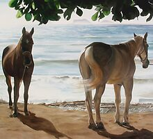 """Caballos del Mar"" - oil painting of horses on a Mexican beach by James  Knowles"