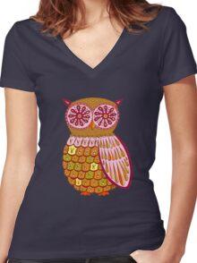 Retro Owl Shirt Women's Fitted V-Neck T-Shirt
