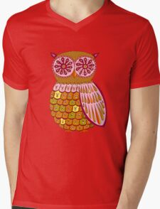 Retro Owl Shirt Mens V-Neck T-Shirt