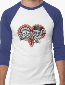 Sugar Skulls Couple Tshirt Men's Baseball ¾ T-Shirt