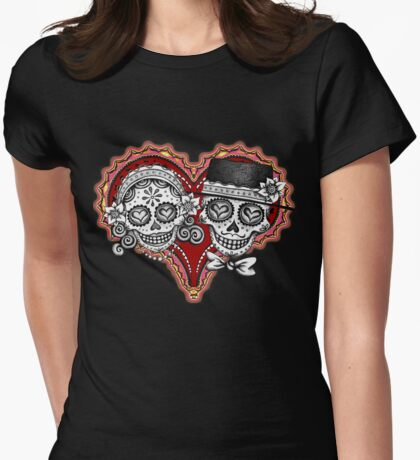 Sugar Skulls Couple Tshirt Womens Fitted T-Shirt