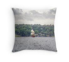 British Ship On The Bay Throw Pillow