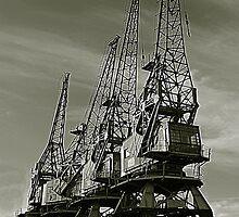 Dock cranes at Bristol by Rob Hawkins