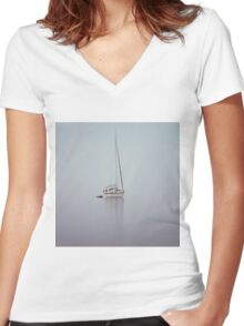 misty weather Women's Fitted V-Neck T-Shirt