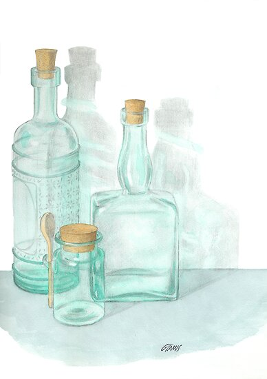 THE GLASS OF GLASSWARE - PENCIL AND WATERCOLOR by RainbowArt