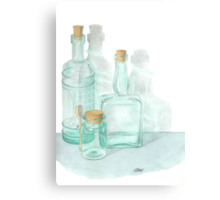 THE GLASS OF GLASSWARE - PENCIL AND WATERCOLOR Canvas Print