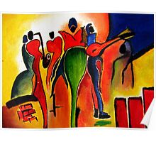 Abstract crowd: Oil Painting Poster