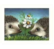 Hedgehogs on a date Art Print