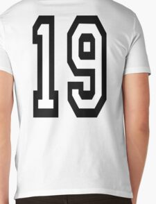 19, TEAM SPORTS, NUMBER 19, NINETEEN, NINETEENTH, Competition,  Mens V-Neck T-Shirt