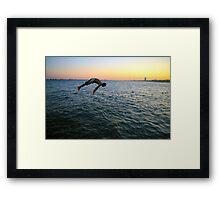 Jumping into the Marmara Framed Print