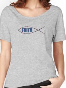Christian Fish Multi-Colored 'FAITH' Women's Relaxed Fit T-Shirt