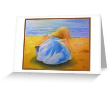 Blue Dress Girl Collecting Shells Greeting Card
