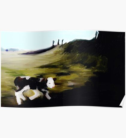 New born calf on Penshaw hill Poster